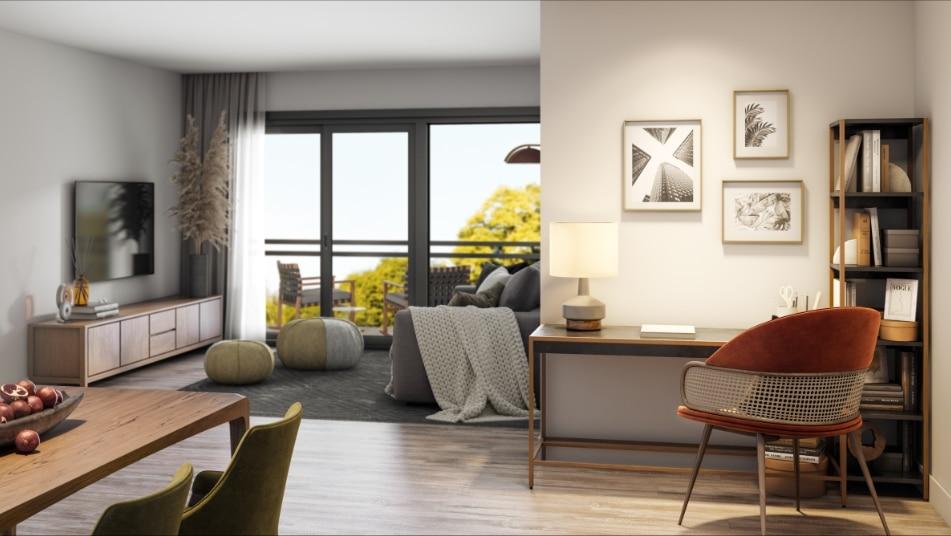Espace de travail intégré dans l'appartement